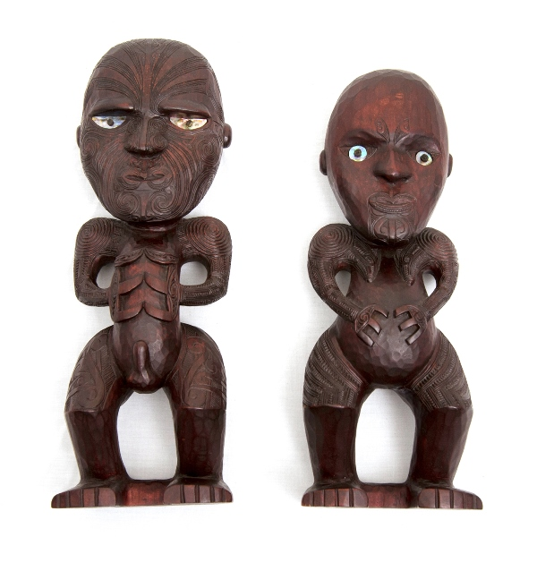 Pr Early Colonial NZ Maori Figures. Intricately carved man & woman standing figures. Paua shell inset eyes. Provenance: private collection.