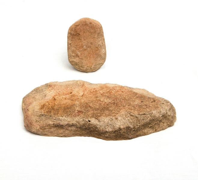 Early Aboriginal Grinding Stone (2).  Rectangular limestone tablet & grinding stone. Collected Watgett c1960.