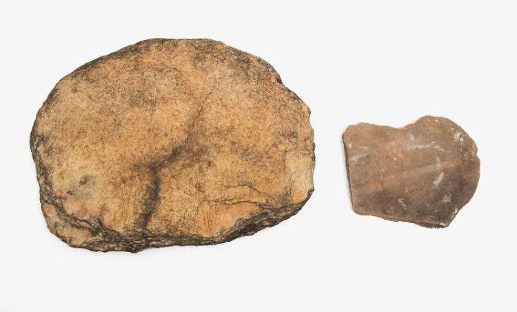 Aboriginal Large Grinding Stone (2). Part double-sided limestone tablet & larger flat tablet. Collected Walgett c1960.