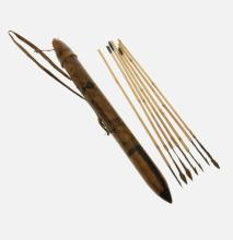 African Cameroon Leather Covered Quiver & Arrows.  Incl. 7 metal tipped cane arrows. Marked 'KAPSIKI CAMEROUN.'