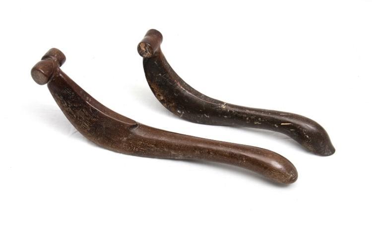 2 Var Lombok Rice Sheaf Tying Implements.  Carved dense wood curved form. Use patina.
