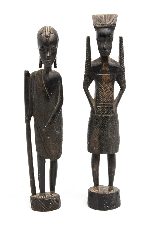 2 East African Carved Hardwood Figures. 1 figure as inspected.