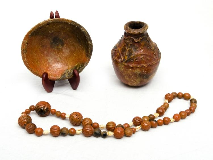 3 Var Fijian Pottery Items.  Incl. gourd shaped vase, embossed decoration; bowl; & necklace, shell decorated.