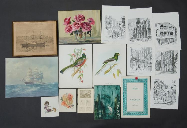 Collection Australian & New Zealand School Works etc.  Incl. Brownie DOWNING & John ALLCOT prints; Helen BARCLAY, Still Life, oil on board; Theo GRIMANES, 'North Coast,' gouache (39x53cm); MACNAY  'Figures in Poppy Field, after Monet,' oil on canvas (49x60cm); etc. <br>  <br>
