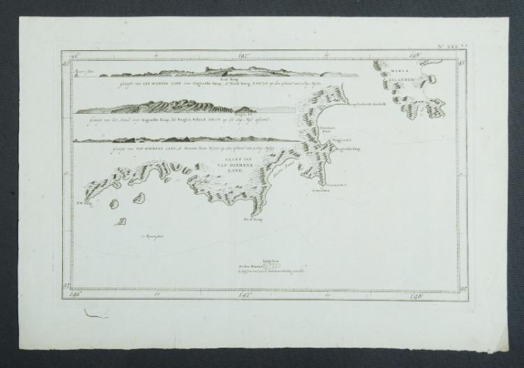 Mapmaker, William Bligh, Tasmania. Showing from Maria Island to SW Cape with elevations. Pub. C1785 from a Dutch issue of 'A New Authentic and Complete account of Voyages Around the World.' Copper Engraving 23x36cm