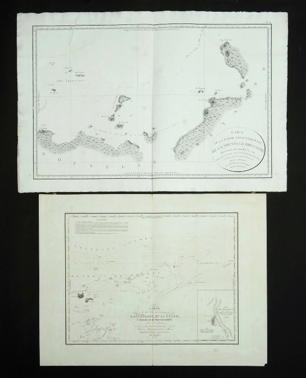 2 Early Maps, Pacific & Australian Exploration.  'Carte de la Route des Corvettes L'Astrolabe, et la Zelee a travers le Detroit de Torres,' by Vincendon-Dumoulin, c1842; 'Carte de la Partie Septentrionale de la Nouvelle Bretagno, decouverte par Dampier, en 1700, reconnue par le contre-amiral Bruny d'Entrecasteaux, en Juillet 1793,' by Beautemps-Beaupre & Francois, 1807. Tear & staining. <br> Copper engraving <br> 47x63cm & 51x76cm