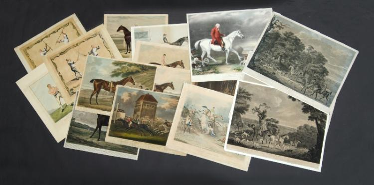Var Early Sporting Prints. Incl. swordplay & staff fighting prints by Scolin, c1745; Boxing, Richard Curtis, pub. Fores, c1820; Hunting, At Fault, 1790; Doncaster Winner Rockingham, 1833; Hambletonian, 1799; Hambletonian, pub. Harris, 1800; Amato & Coronation (2), pub, S & J Fuller c1845; Gladiateur, litho by Gengembre c1865; John Booth, pub. John Sunter, 1842; St Albans Steeple Chase; Hunting, The Chase 1790; Thoroughbreds, pub. Fores, 1846; Hunting, Branching Into Cover, 1790; & Haphazard, pub. Harris,1805. Engraving (13) 49x70cm (longest)