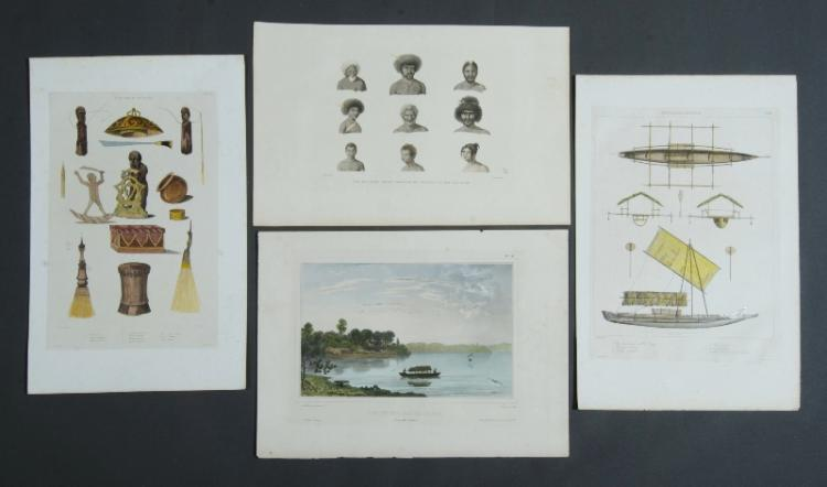 4 New Guinea Antique Prints.  Incl. De Sainson Vue du Villiage de Dorey; & page of artefacts; E. Paris, plans & elevations of canoes; A. Pellion, Divers Portraits de Naturals vus sur L'isle Rawak.29x40cm (largest)