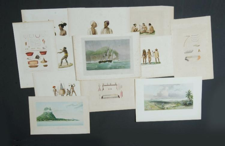 Qty Early French Oceania Prints.  Incl. 8 Louis Duperrey from Voyage Antour du Monde. Paris 1826, The Caroline Isles etc; de Saison, The Astrolabe at New Ireland; Bevalet, Artefacts of the Carolines; also 5 small Dutch engravings, Marquesas, St. Christina, etc; Le Breton, Philipines View; Lejeune & Chasal, Bora Bora.Coloured Engraving (11) & Litho (5)26x34cm (average)