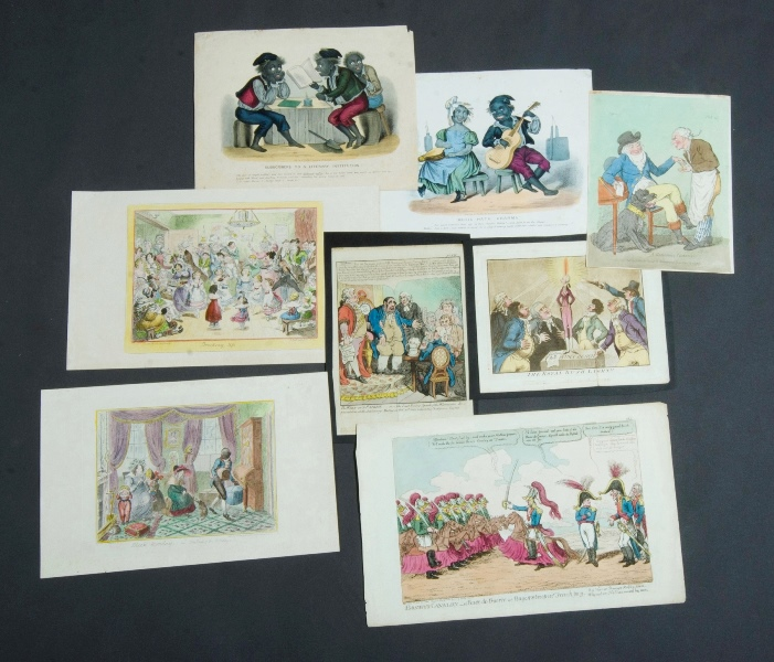 8 Var 18th & 19th C Political Caricatures & Cartoons.  Incl. 3 by Cruikshank.Coloured Copper Engraving (8)22x27cm (average)
