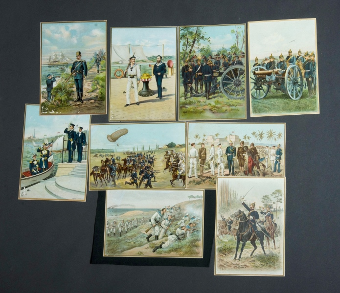9 Various Military Prints.  Various conflicts incl. Spanish-American War & Prussian, pub by The Werner Company (USA)Chromolitho (9)24x34cm (each)