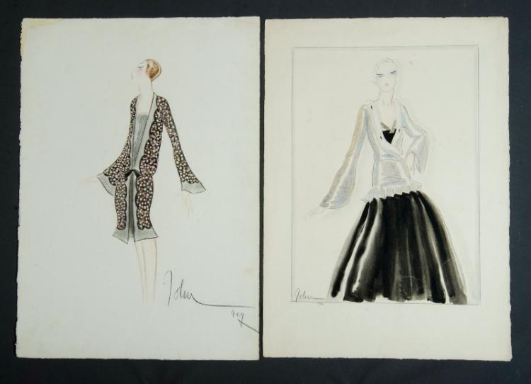 1920s Fashion Plates.  2 large original studies of feminine attire, signed John.Conte & W/Clr (2)70x30cm (sheet size) (each)