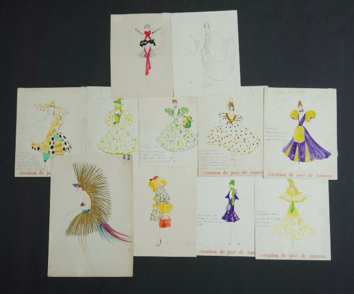 Qty 1920s French Costume Designs.  13 original Paris cabaret costume designs from Jose de Zamora.W/Clr (13)32x26cm (each)