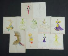 Qty 1920s French Costume Designs.  13 original Paris cabaret costume designs from Jose de Zamora.W/Clr (13)32x26cm (each)
