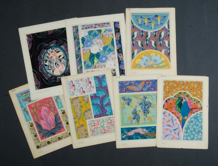 Qty French School Art Deco Designs.  Edouard Benedictus x 3; Augustus Thomas x 6.Pochoir Print37x26cm (average)