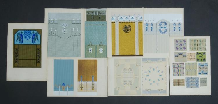 18 German Secessionist Interior Decorations. Original handpainted wall paper & gouache decorative secessionist & jungendstil designs by Max Starcke, Dresden. Prepared for publication by Holze & Pahl, Dresden.Various49x31cm