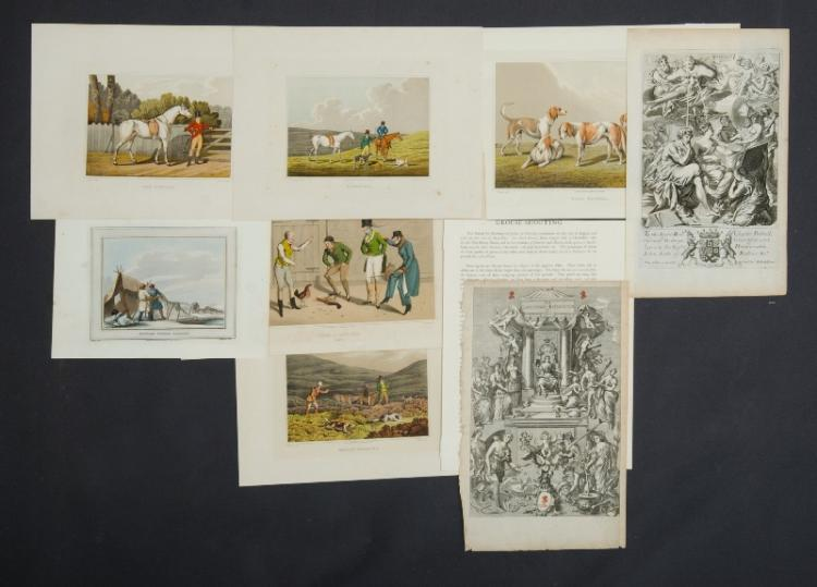 9 Var Sporting & Pastimes Prints. Incl. 2 pages from Blome's 'The Gentleman's Recreation,' (London 1686). Also sundry hunting prints & cockfighting, Russian fishing, coursing etc.Coloured Stipple Engravings & Copper Engravings.28x24cm (average)