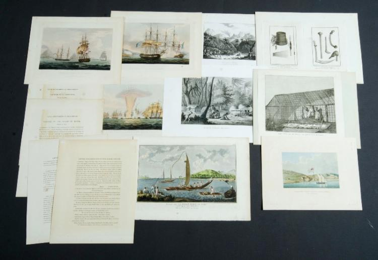 Qty Early Oceania & Naval Prints. Capture of La Chiffonne; Capture of the Island of Banda; Capture & destruction of 4 Spanish frigates, pub 1817; Establissement des Missionnaires Anglais a Kidrkidi (Nouvelle-Zelands); Gezigt van het Eiland Otahiti en enige...., 1793; Ile Rawak: Tombeaux des Papous; New Caladonian implements; Vue prise a Ombay; & Het Huis in de Morai...Steel Engraving (10)Size Various