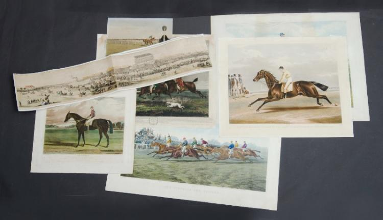 5 Early Horseracing Prints. Epsom Panorama - 'Industry,' Epsom 1838; 'Satirist,' Doncaster 1841; 'Phenomena,' c1813; 'Robert the Devil Prize of Paris,' 1880; 'The Struggle for Victory,' 1873; a watercolour 'Grand National Steeplechase,' 1921, by Shaun SPADAH; & 'Panorama of Epsom' pub. by Ackermann & Co, 1884;Coloured Engraving.20x217cm (panorama) 58x76cm (rest, average)