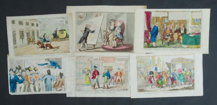 6 Var 19th C Political Caricatures. Incl. 3 by Cruikshank.Coloured Copper Engraving (6)24x35cm (average)