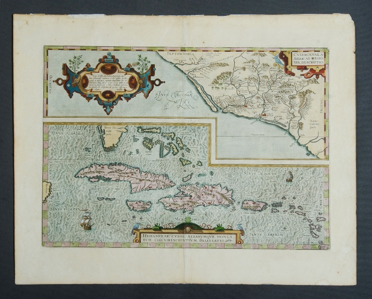 Ortelius Map of Cuba. 'Hispanilae, Cubae, Aliarumque Insularum Circumiacientium, Delineatio,' from Theatrum Orbis Terrarum by Abraham Ortelius, pub. Antwerp, 1570.Hand Coloured Engraving37x50cm