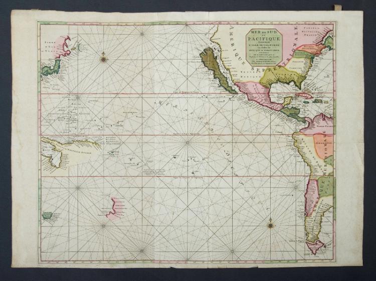 Mortier Pacific Ocean Map. 'Mer de Sud ou Pacifique' from Suite du Neptune Francois pub. Amsterdam 1700. Short edge tears, foxing.Hand Coloured Copper Engraving60x75cm (plate)