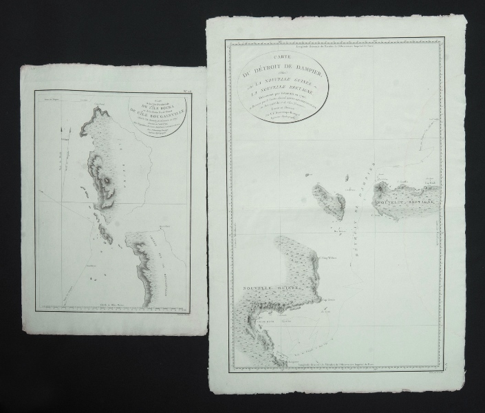 5 Var Early Oceana Maps. 4 from the Bruny-D'entrecasteaux Voyage, 'De L'Ile Bouka & Bougainville;' 'De la Partie Sud-Est de la Nouvelle Guinee;' 'De Detroit de Dampier situe entre La Nouvelle Guinee et La Nouvelle Bretagne;' 'Carte de la Partie Du Grand Archipel D'Asie.' pub. Paris c1807; & 'Carte de Detroit de Wangi-Wangi,' from the voyage of the la Coquille c1824.Engraving (5)50x36cm, 50x77cm, 76x50cm, 50x76cm & 50x74cm