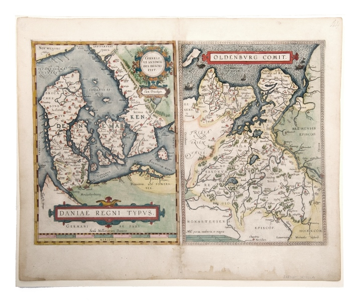 Ortelius Map, Daniae Regni Typus.  2 Maps, Denmark by Anthoniszoon & Oldenburg Commit. Pub. by Ortelius, Antwerp, 1598.Hand Coloured Copper Engraving35x50cm