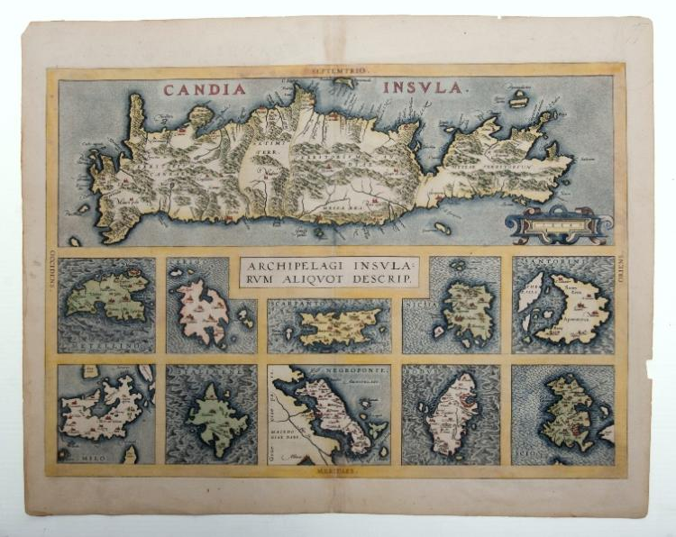 MAP, Ortelius Candia Insula.  Map of Crete with 10 additional islands, by Abraham Ortelius, pub. Antwerp, 1573. Descriptive Latin text verso.Hand Coloured Copper Engraving36x51cm