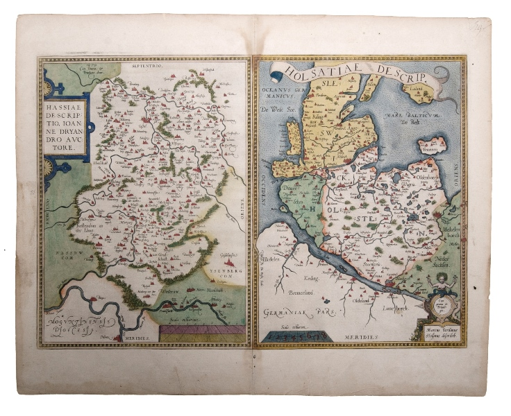 Ortelius Map Holsatiae De scripi. 2 German regional maps on one sheet showing Frankfurt, Rhine & Hamburg. Pub. by Abraham Ortelius, Antwerp, 1581.Hand Coloured Copper Engraving34x50cm