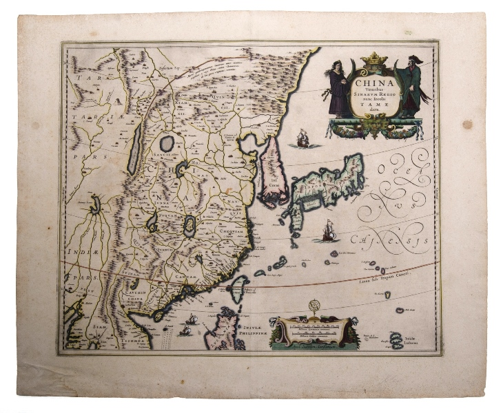 MAP, Jannsons China Veteribus Sinarum Regio. Map incorporates Eastern China, Japan, Korea, parts of India & Siam. Pub. Amsterdam 1658.Hand Coloured Copper Engraving41x51cm