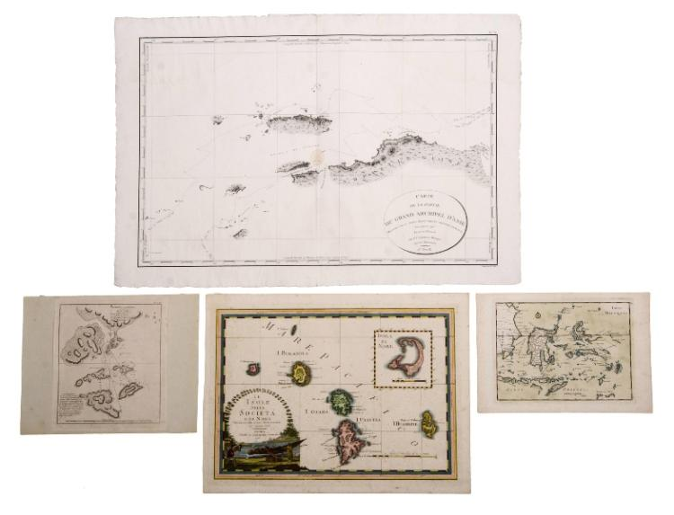 MAPS 4, Pacific & Indonesia.  Isles Molugues by Le Rouge, pub. Paris 1748, shows Northern tip of Australia; Schets Von Typa van Macao, from Dutch ed. of Cooks Voyages; Le Isole Della Societae di Noel by Giovanni Maria Cassini, pub. Rome 1798, mapped using Cook's observations, 1769; & Carte de la Partie du Grand Archipell d' Aise, part of N.W. New Guinea as mapped by Admiral Bruny-d' Emtrecasteaux, pub. Paris, 1798.Engravings (4)22x29cm, 27x23cm,37x51cm & 50x76cm