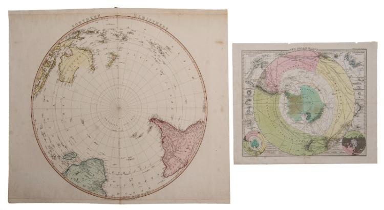 MAPS, 2 of Polar Region.  Southern Hemisphere by William Foden, pub. London 1802; & Sud Polar Karte by Petermann, pub. Stieler, Germany, 1863.Hand Coloured Copper Engraving & Coloured Steel Engraving.60x60cm & 34x41cm