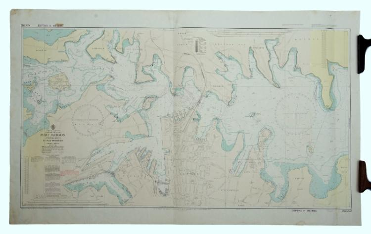 Chart of Port Jackson.  Central sheet of Sydney Harbour showing Spectacle Island to Double Bay, by the Hydrographic Service of the R.A.N. Issued 1977.Litho62x102cm
