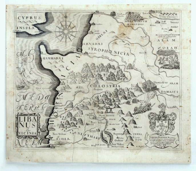 Early Maps of The Holy Land.  5 Maps of Western Mediterranean encompassing modern Palestine, Israel, Lebanon, Jordan & Syria, by Simeoni Bonnell & others. Pub. in A Pisgah-Sight of Palestine and the Confines Thereon by Thomas Fuller, 1650.Copper Engraving (5)29x34cm