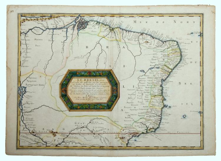 MAP, Sanson, Le Bresil, dont la Coste.  Brasil from the Amazon to Rio de Janeiro by Nicholas Sanson, pub. Paris, 1656. Later colouring to cartouche.Hand Coloured Copper Engraving40x55cm