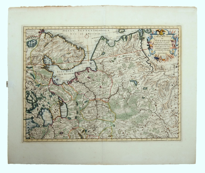 MAP, Ottens Carte Nouvelle Moscovie.  Map of Northern Russia after cartographer De L'Isle, pub, by Reiner & Joshua Ottens, Amsterdam, 1720.Hand Coloured Copper Engraving42x56cm