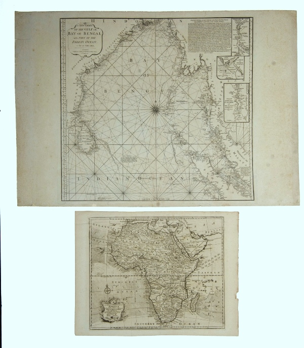 MAPS 2, Africa & Bay of Bengal.  A New & Correct Map of Africa, by Emanuel Bowen, pub. London 1744; & A New Chart of the Gulf or Bay of Bengal, by Laurie & Whittle, pub. London, 1797.Copper Engraving38x46cm & 62x66cm