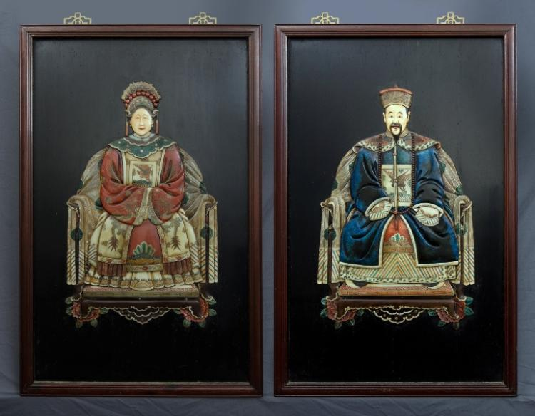 Pr Chinese Ancestor Pictures. Emperor & Empress.Coloured Resin on Board109x67cm (each)
