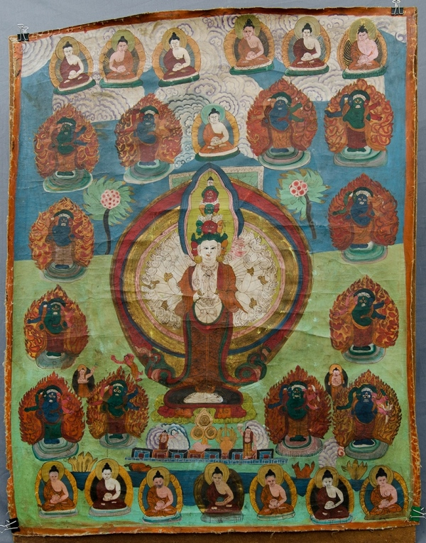 Tibetan Thangka, Avalokiteshvara with a border of monks.Mineral Paints on Cotton90x70cm