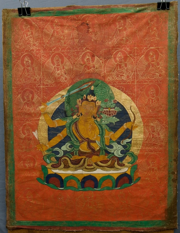 Tibetan Thangka, Green Tara with Gold Taras.Mineral Paints on Cotton80x60cm