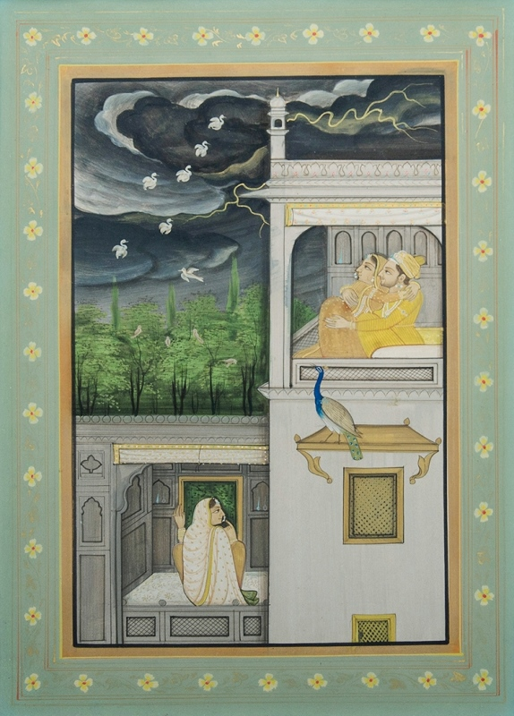 Indian Miniature.  Lovers in a Pavilion with birds at night. c1850.Gouache29x21cm