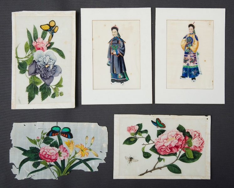 5 19th C Chinese Trade Paintings.  3 depicting blossoms and insects (18x25cm each) <br> ; & 2 royal figures (20x14cm each) <br> . As inspected.Gouache on Pith (5) <br>