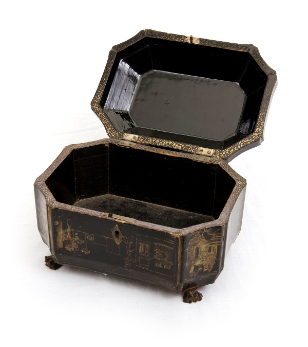 Early Chinese Lacquer Box. Exterior with gilded decoration (worn) on black lacquer. Quad footed.