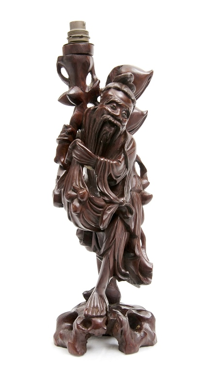 Chinese Carved Wood Figure Lamp. Standing sage figure. Electric fitting to top. Splits to figure.