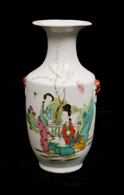 Chinese Republic Period Vase. Painted decoration of women in a garden. Signed in characters to body.