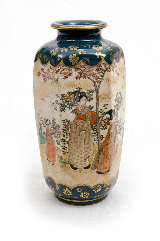 Japanese Satsuma Vase.  Ladies in garden decoration. Red mark to base.