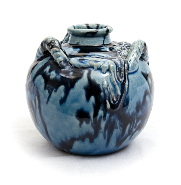 Japanese Ceramic Vase. Blue glazed. Embossed dragon decoration. Marked to base.
