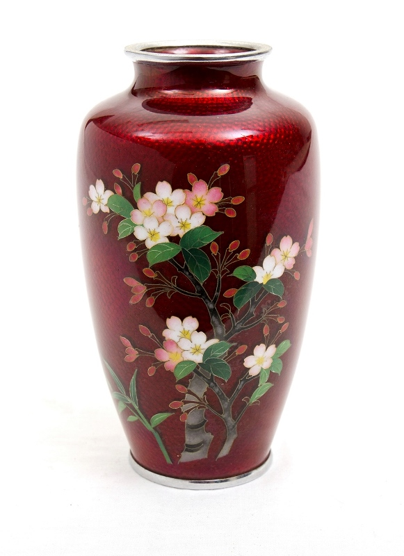 Japanese Cloisonne Vase.  Blossom decoration on red ground.