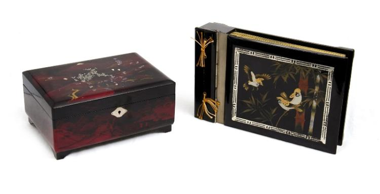 2 Var Japanese Lacquer Items. Incl. jewellery box, fitted interior, with music box; & photograph album, also with music box.